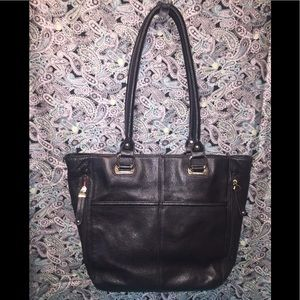 Tignanello's Black Pebbled Genuine Leather Tote